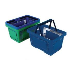 12 x Plastic Shopping Basket Blue (22 litre each basket, 2 collapsing handles) 370766