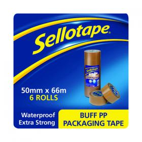Sellotape Polypropylene Packaging Tape 50mmx66m Brown (Pack of 6) 1445172