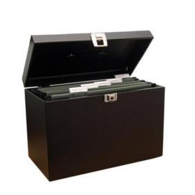 Cathedral Metal File Box Home Office Foolscap Black HOBK