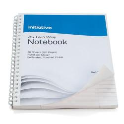 Cheap Stationery Supply of Initiative Twinwire Bound Notebook A5+ Ruled Margin Perforated 70gsm 160 pages Office Statationery