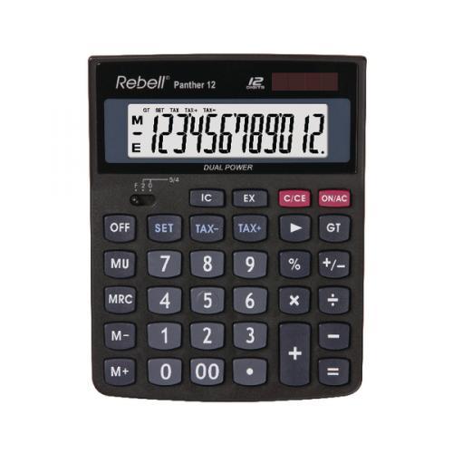 Rebell 12 Digit Calculator White /& Blue Dual Power Desk Desktop Office Small