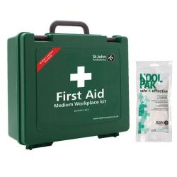 Cheap Stationery Supply of St John Ambulance Workplace First Aid Kit Medium 25-50 Person with FOC Instant Cold Pack Office Statationery