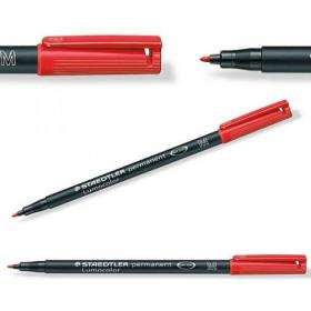 Staedtler Lumocolor Medium Tip Permanent OHP Red Pen Pack of 10 317-2