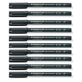 Staedtler Lumocolour Pen Permanent Fine Black (Pack of 10) 318-9