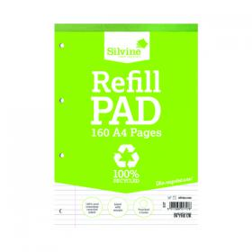 Silvine Everyday Recycled Ruled Refill Pad A4 (Pack of 6) RE4FM-T