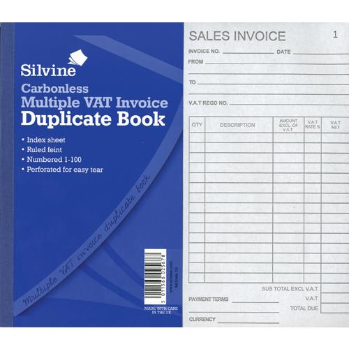40 Pages Numbered Just Stationery Carbonless Invoice Book