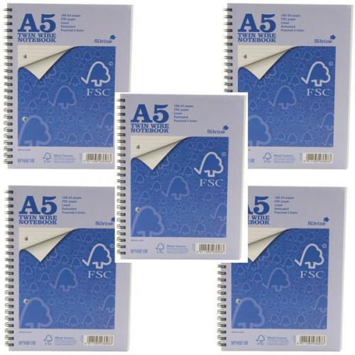 Silvine A5 Twin Wire Notebook 160 Pages Feint Ruled Pack of 5 FSCTWA5