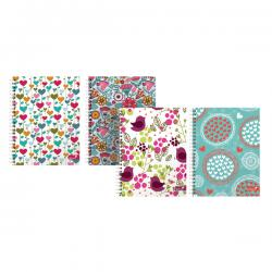 Cheap Stationery Supply of Silvine Marlene West Heart Flower Notebook A5 Plus (Pack of 4) TWA5MW Office Statationery