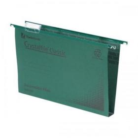 Rexel Crystalfile Classic Suspension File Manilla Wide-base 30mm 230gsm A4 Green Ref 70621 Pack of 50
