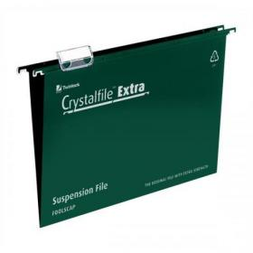 Rexel Crystalfile Extra Suspension File Polypropylene 15mm V-base Foolscap Green Ref 70628 Pack of 25