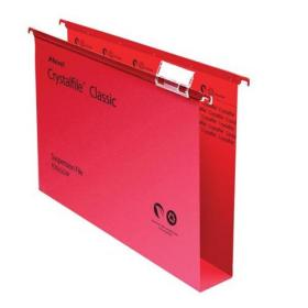 Rexel Crystalfile Classic Suspension File Manilla 50mm Wide-base 230gsm Foolscap Red Ref 71752 Pack of 50