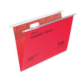 Rexel Crystalfile Classic Suspension File Manilla V-base Foolscap Red Ref 78141 Pack of 50