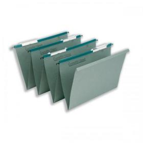 Rexel Crystalfile Classic Linking Suspension File Manilla 15mm V-base Foolscap Green Ref 78650 Pack of 50