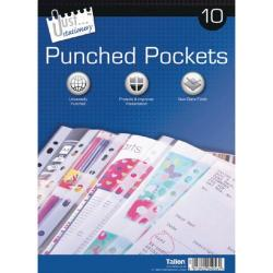 Cheap Stationery Supply of 10 Punched Pockets (Pack of 12) Office Statationery