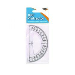 Cheap Stationery Supply of Tiger 180 Degree Clear Plastic Protractor (Pack of 12) 300957 Office Statationery