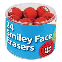 Cheap Stationery Supply of Tiger Assorted Smiley Face Erasers (Pack of 24) 302199 Office Statationery