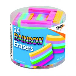 Cheap Stationery Supply of Rainbow Coloured Block Erasers (Pack of 24) 305047 Office Statationery