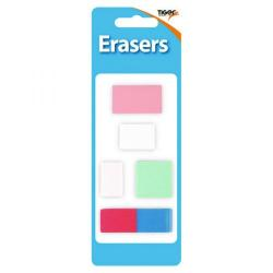 Cheap Stationery Supply of Tiger Assorted Design Erasers (Pack of 60) 302022 Office Statationery