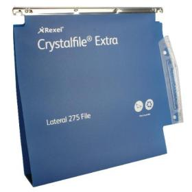 Rexel Crystalfile Extra 50mm Lateral File Blue (Pack of 25) 71765