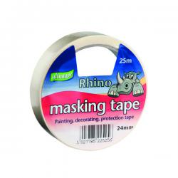 Cheap Stationery Supply of General Purpose Masking Tape 24mmx25m Rhino Label (Pack of 9) RT03512425RH1 Office Statationery