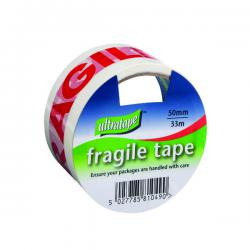 Cheap Stationery Supply of Fragile Tape 50mmx33m 1 Roll Ultra Red/White (Pack of 6) FRAG-5033-UL1 Office Statationery