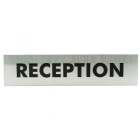 Acrylic Sign Reception Aluminium 190x45mm (Brushed aluminium effect background) SR22364