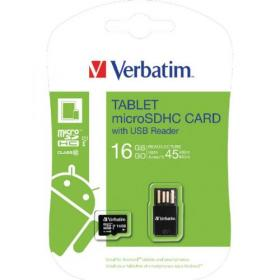 Verbatim Tablet Micro SDHC Card 16GB with USB Reader 44058