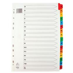 Cheap Stationery Supply of Multicoloured A4 A-Z Mylar Index WX01523 Office Statationery
