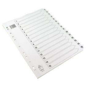 A4 White 1-15 Mylar Index (Mylar reinforced tabs and holes for durability) WX01530