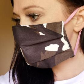Hand Crafted Camo Washable Face Mask with Pink Elastic