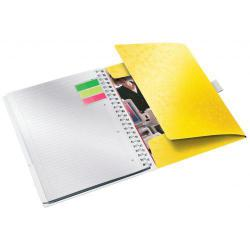 Cheap Stationery Supply of Leitz WOW Be Mobile Notebook A4 ruled, wirebound with PP cover. 80 sheets, 4-hole punched. Pen holder and 3 flap folder. Yellow - Outer carton of 6 Office Statationery
