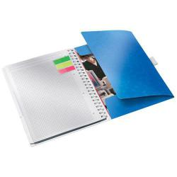 Cheap Stationery Supply of Leitz WOW Notebook Be Mobile A4 squared, wirebound with PP cover 80 sheets, 4-hole punched, Pen holder and 3 flap folder, Blue - Outer carton of 6 Office Statationery
