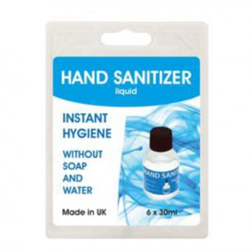 Hand Sanitiser 6x 30ml 70% Alcohol