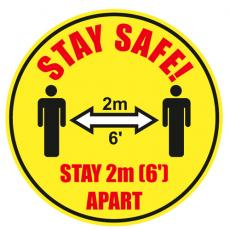 SECO yellow heavy duty laminated floor stickers stay safe 300mm dia, pack of 2